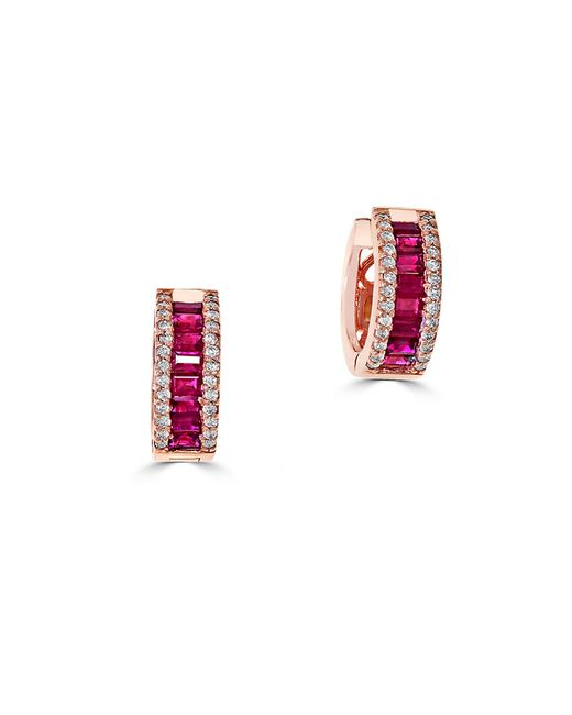 Effy | Red Amore Diamond, Ruby And 14k Rose Gold Earrings | Lyst