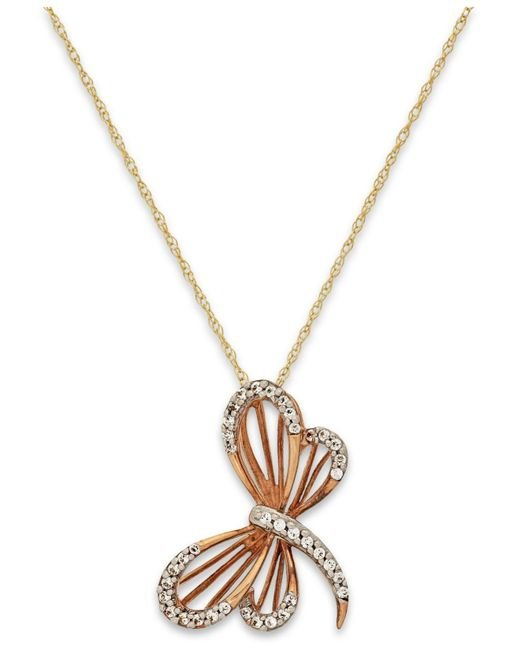 Macy's | Metallic Diamond (1/10 Ct. T.w.) Dragonfly Pendant Necklace In 10k Gold | Lyst