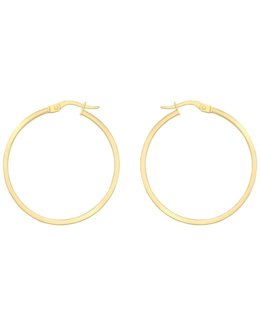 Ib&b | 18ct Yellow Gold Rectangular Tube Creole Earrings | Lyst