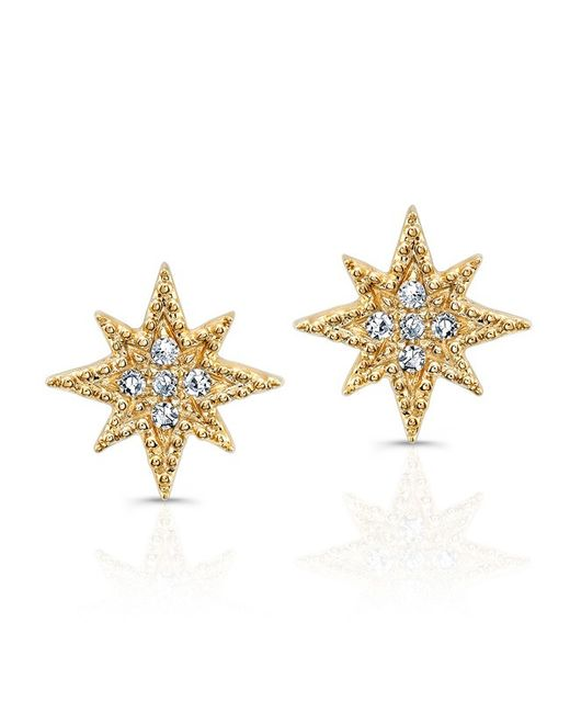Anne Sisteron - Metallic 14kt Yellow Gold Diamond North Star Stud Earrings - Lyst