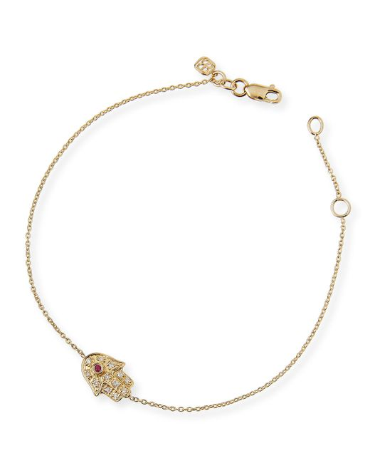 Sydney Evan | Metallic 14k Gold Diamond Mini Hamsa Bracelet | Lyst