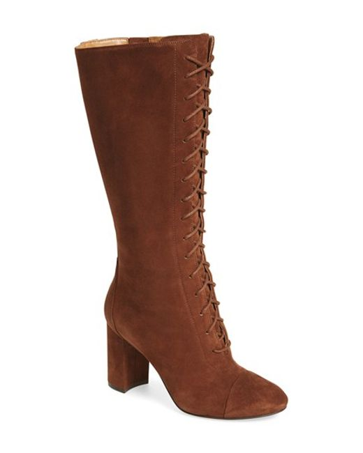 Nine West | Brown Waterfall Lace-Up Knee-High Boots | Lyst
