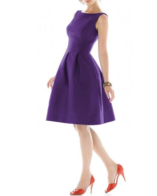 Alfred Sung | Purple Dupioni Fit-and-Flare Silk Dress | Lyst