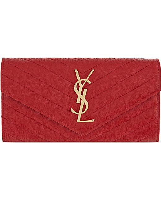 Saint Laurent | Red Monogram Quilted Leather Wallet | Lyst