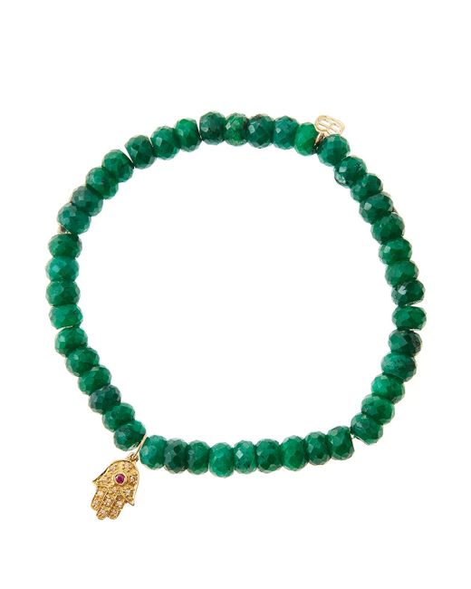 Sydney Evan   Green Emerald Rondelle Beaded Bracelet With 14K Gold Hamsa Charm (Made To Order)   Lyst