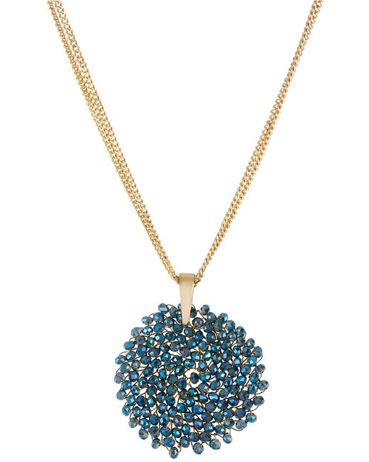 Kenneth Cole | Blue Gemstone Pendant Drop Necklace | Lyst