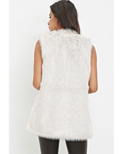 Forever 21 | Gray Faux Fur Vest | Lyst