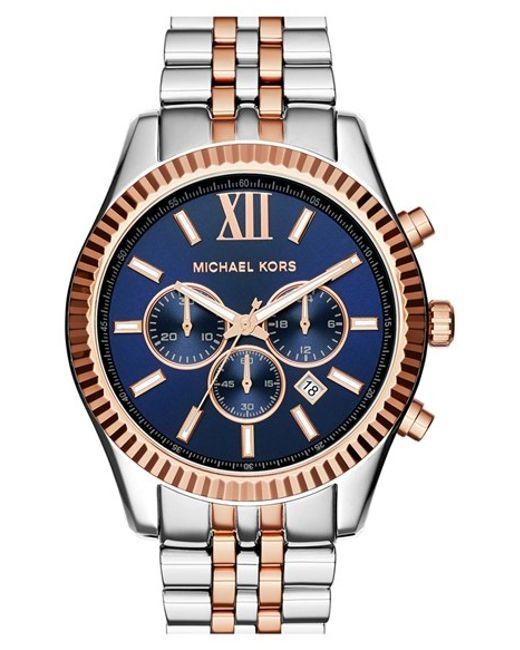 MICHAEL Michael Kors | Metallic Michael Kors 'large Lexington' Chronograph Bracelet Watch | Lyst