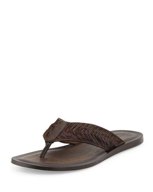 John Varvatos | Brown Artisan Leather Thong Sandal for Men | Lyst
