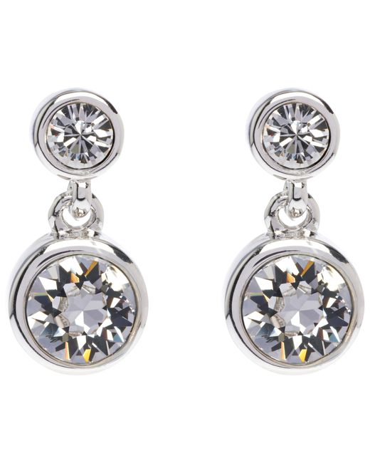 Karen Millen | Metallic Swarovski Crystal Dot Drop Earrings | Lyst