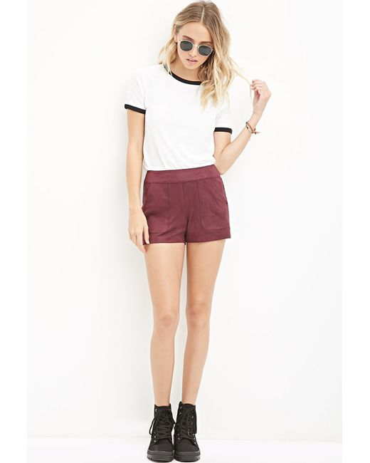 Forever 21 | Purple Faux Suede Shorts | Lyst