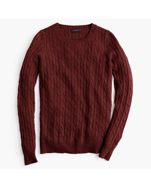 J.Crew | Brown Cambridge Cable Crewneck Sweater | Lyst