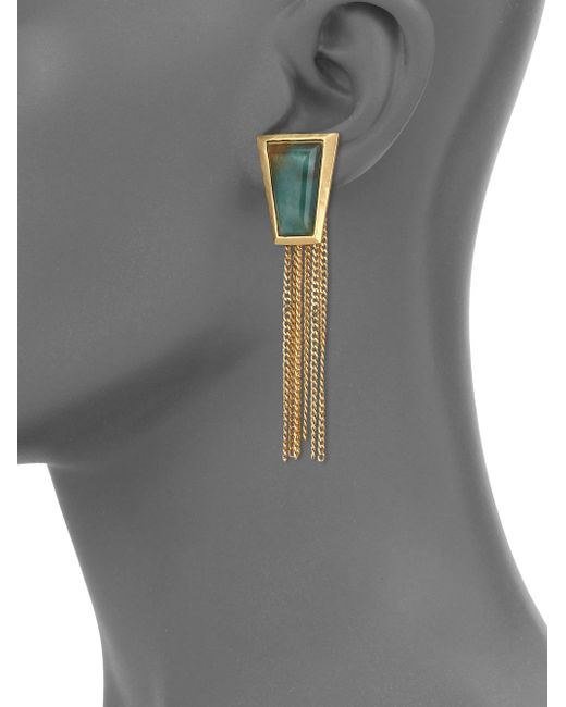 Stephanie Kantis | Impose Green Moss Agate Chain Fringe Earrings | Lyst