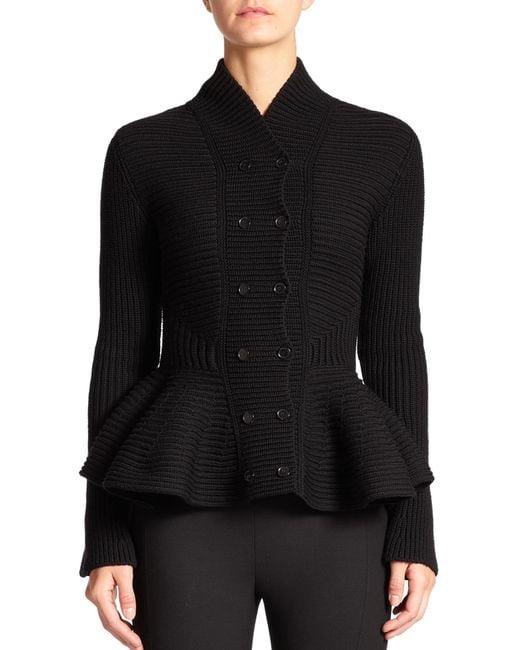 Alexander McQueen | Black Knit Peplum Jacket | Lyst