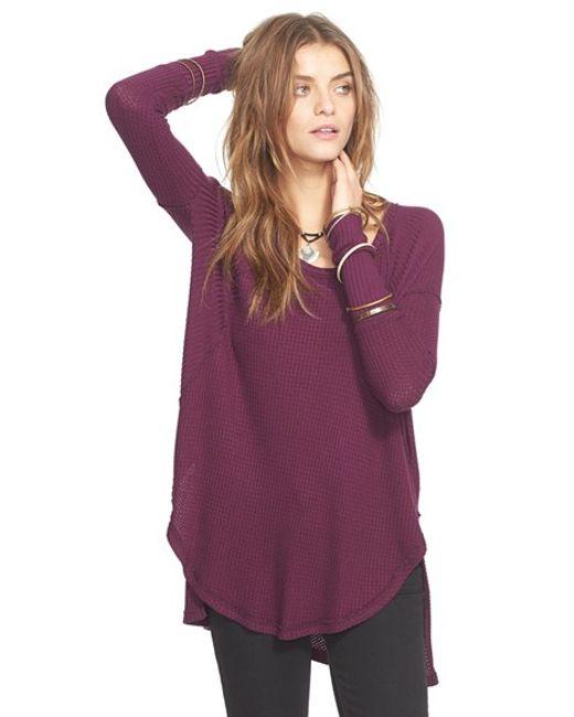 Free People   Purple 'ventura' High/low Thermal Top   Lyst