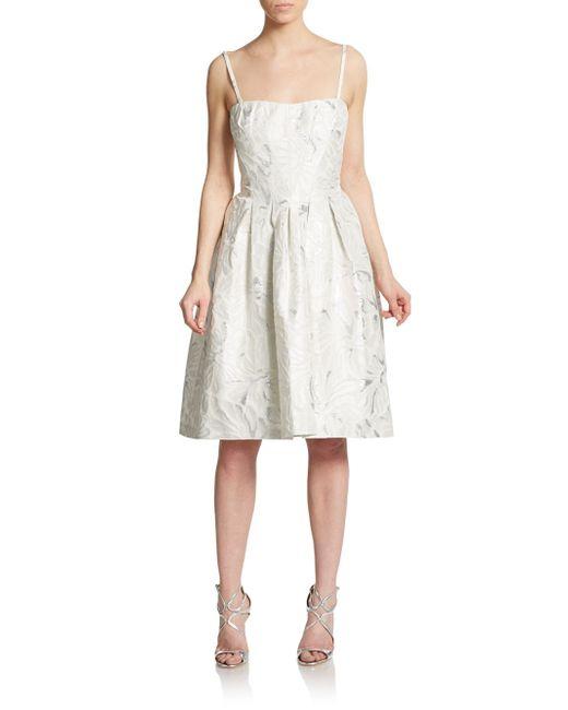 Vera Wang Metallic Brocade Fit Amp Flare Dress In White