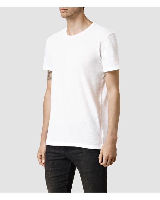 AllSaints | White Figure Crew T-shirt Usa Usa for Men | Lyst