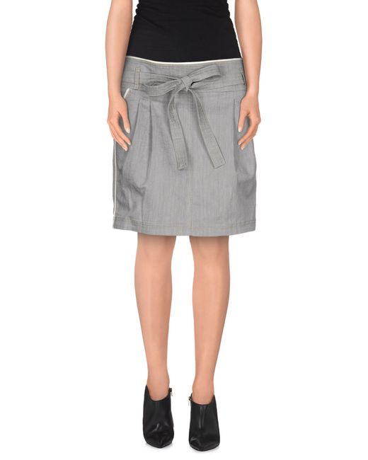 see by chlo 233 denim skirt in gray grey save 62 lyst