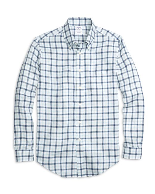 Brooks Brothers | Blue Regent Fit Gingham Linen Sport Shirt for Men | Lyst