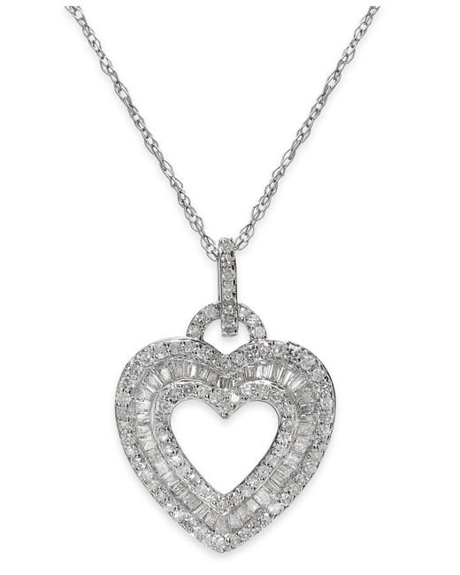 Macy's | Metallic Diamond Layered Heart Pendant Necklace In Sterling Silver (1/2 Ct. T.w.) | Lyst