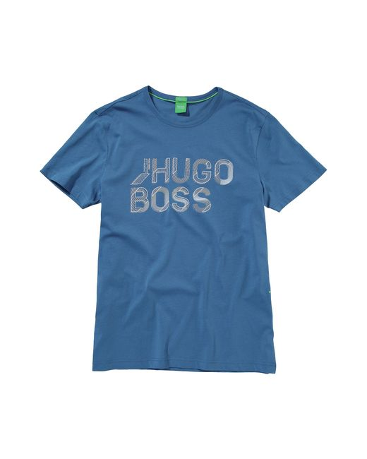 BOSS Green   Blue T-shirt 'teeos' With A Round Neckline for Men   Lyst