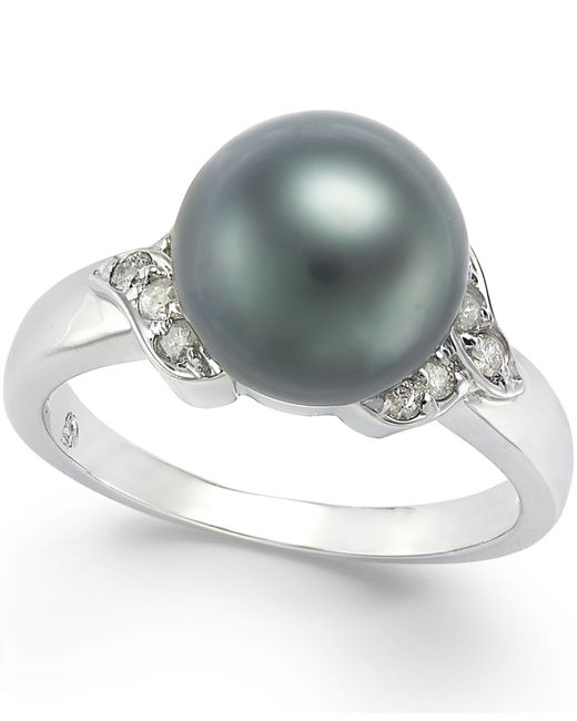 Macy's | Metallic Tahitian Pearl (9mm) And Diamond Ring (1/6 Ct. T.w.) In 14k White Gold | Lyst