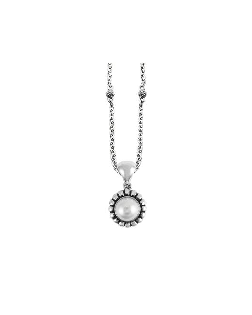 Lagos | Metallic Luna Sterling Silver & Cultured Freshwater Pearl Fluted Pendant Necklace, 16"
