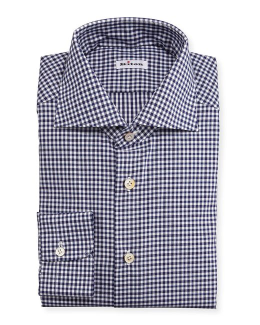 Kiton unbalanced gingham woven dress shirt in blue for men for Navy blue checkered dress shirt