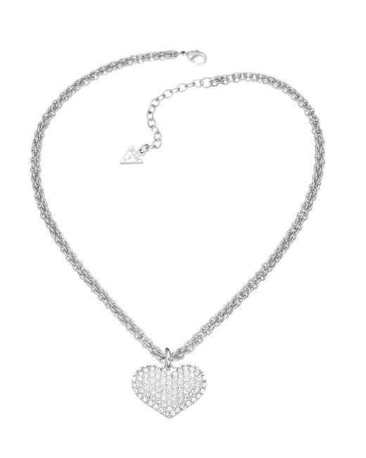 Guess | White Basic Instinct Heart Chain Pendant Necklace | Lyst