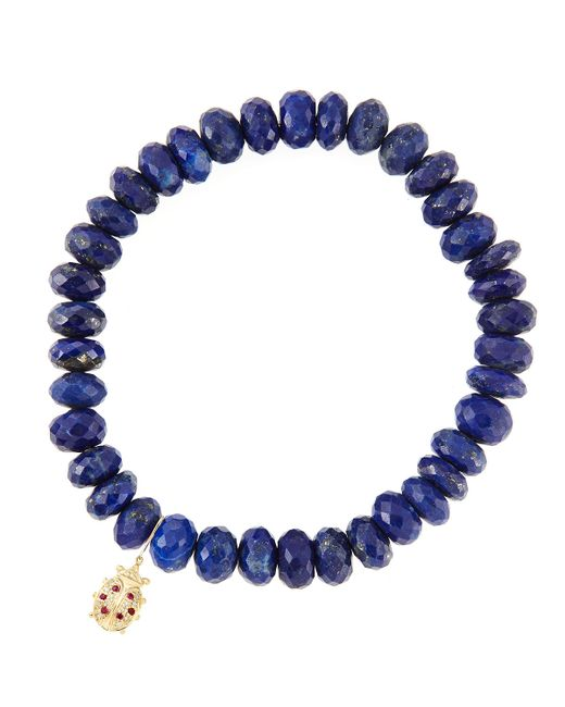 Sydney Evan | Metallic 8Mm Faceted Lapis Beaded Bracelet With 14K Gold/Diamond Medium Ladybug Charm (Made To Order) | Lyst