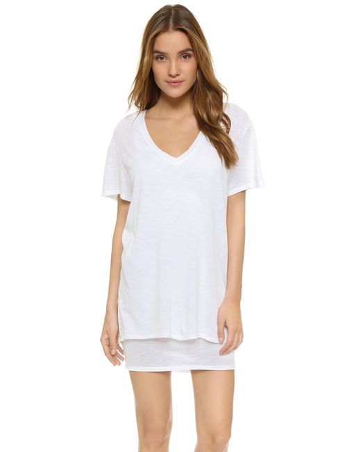 feel the piece talia v neck t shirt dress in white lyst