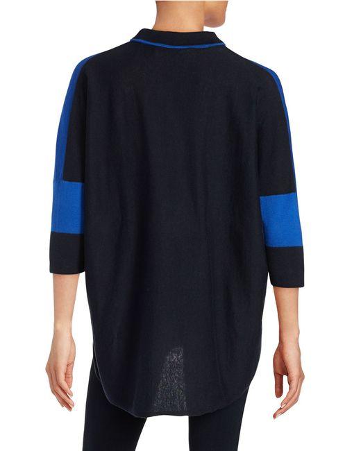 T Tahari | Blue Mock Neck Hi-lo Sweater | Lyst