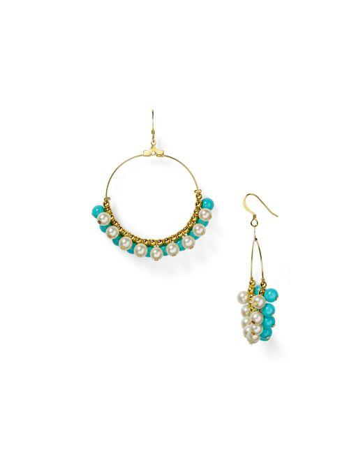 Kenneth Jay Lane | Blue Faux Pearl Hoop Earrings | Lyst