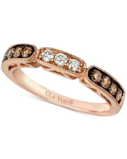 Le Vian   Metallic Chocolate And White Diamond Band In 14k Rose Gold (3/8 Ct. T.w.)   Lyst
