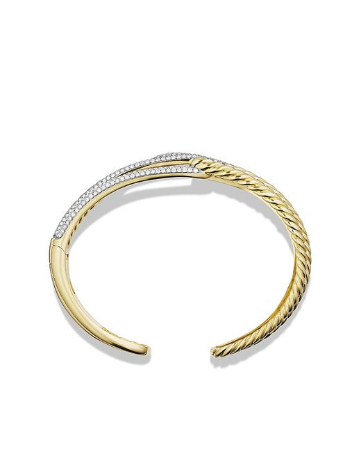David Yurman | Metallic Labyrinth Double-loop Cuff Bracelet Bracelet With Diamonds In 18k Gold, 14mm | Lyst