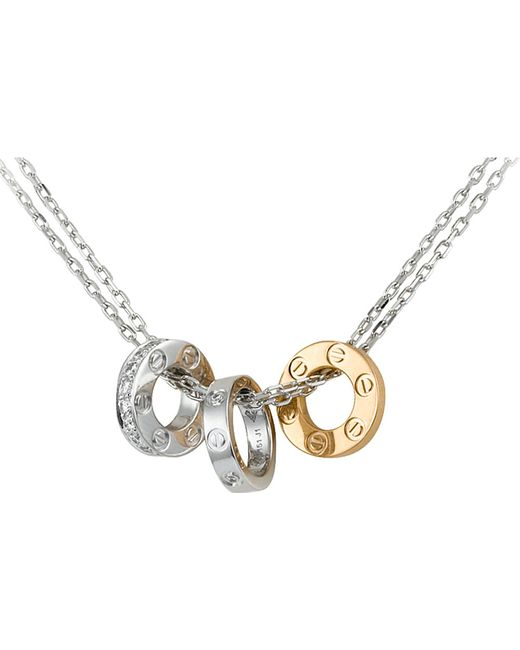 Cartier | Metallic Love 18ct Gold And Diamond Necklace | Lyst