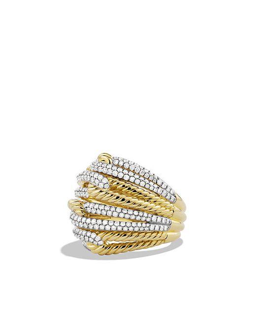David Yurman | Metallic Labyrinth Dome Ring With Diamonds In Gold | Lyst