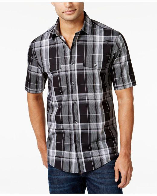 Alfani Men 39 S Plaid Short Sleeve Shirt Only At Macy 39 S In