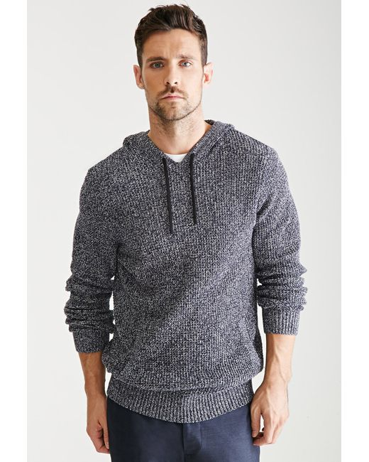 Forever 21 | Blue Marled Knit Hooded Sweater for Men | Lyst