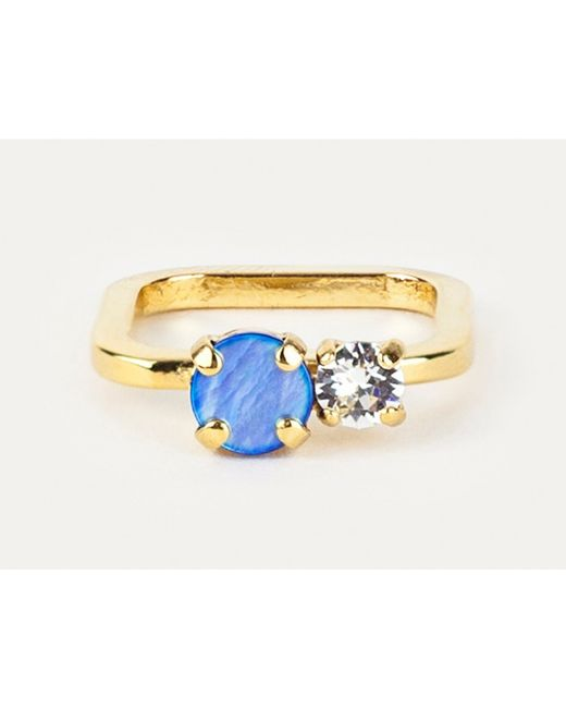 Sabrina Dehoff | Rounded Square Ring With Blue Swarovski Stone | Lyst