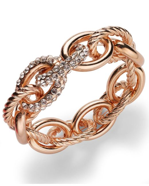 INC International Concepts | Metallic Rose Pave Link Stretch Bracelet | Lyst