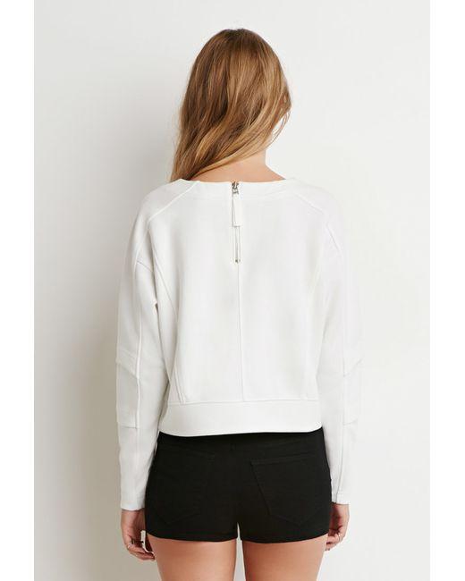 Forever 21 | White Tonal-paneled Boxy Sweatshirt | Lyst