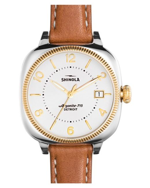 Shinola The Gomelsky Square Leather Strap Watch In Brown