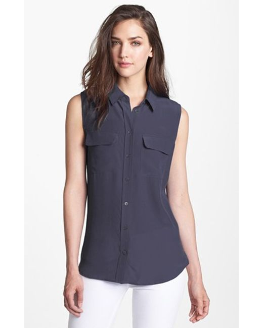 Equipment | Blue 'slim Signature' Sleeveless Silk Shirt | Lyst
