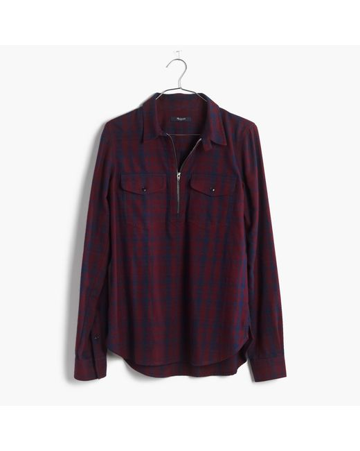 Madewell flannel zip front popover shirt in mckinney plaid for Zip front flannel shirt