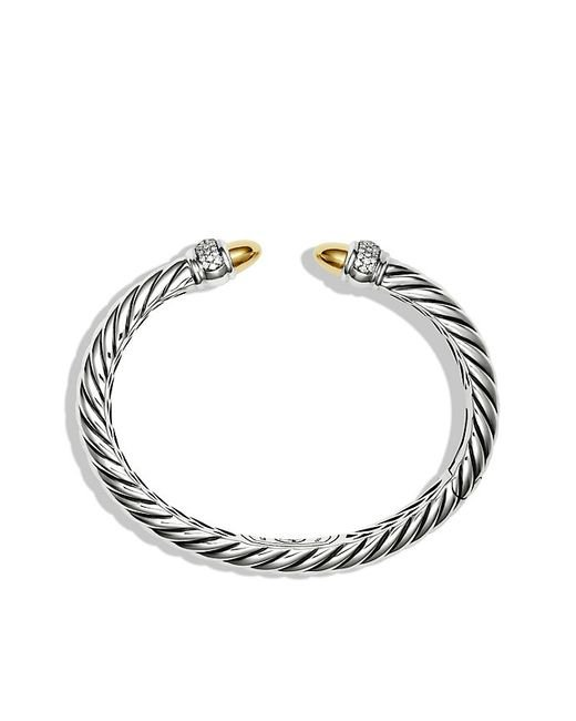 David Yurman | Metallic Sculpted Cable Bracelet With 18k Gold Domes And Diamonds | Lyst