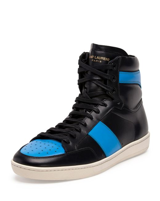 Saint Laurent | Blue Leather High-Top Sneakers for Men | Lyst