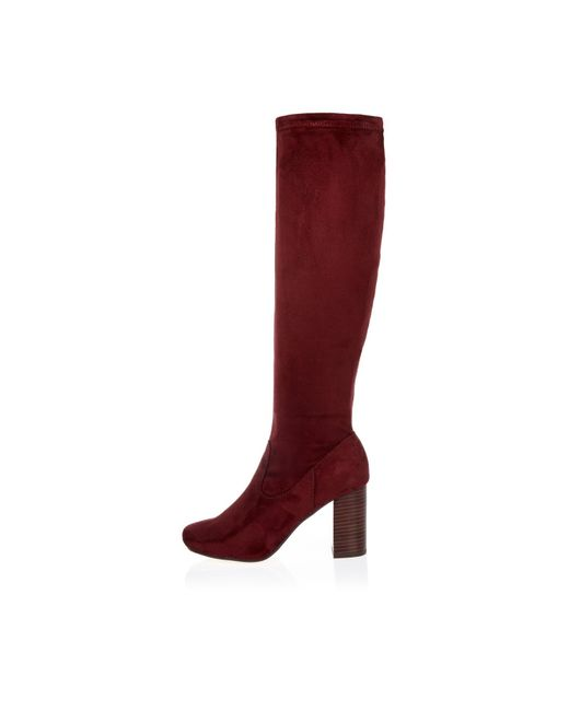 river island heeled knee high boots in lyst