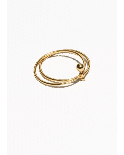 & Other Stories | Metallic Gold-plated Sterling Silver Double Ring | Lyst