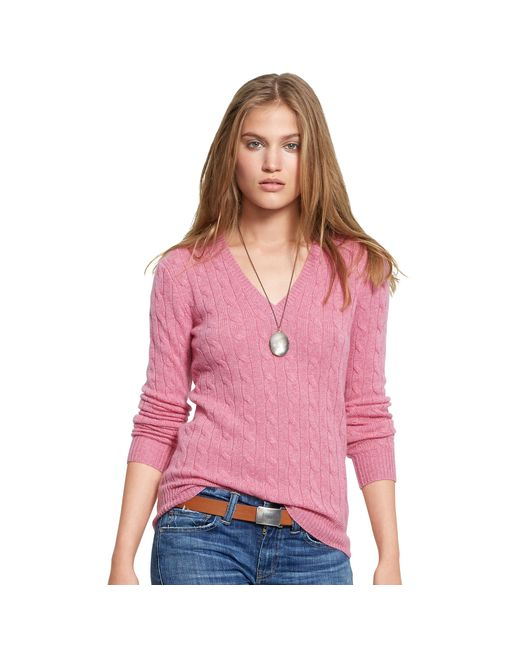 Polo Ralph Lauren | Pink Cable Cashmere V-neck Sweater | Lyst